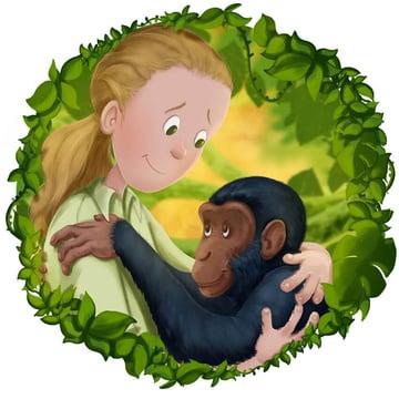 Finished Jane Goodall  Chimpanzee Illustration