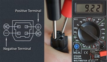 Insert the probes from a multimeter into the pins from the output cable and measure the voltage coming from the DC voltage regulator