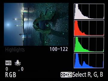 Histogram tool on DSLR camera