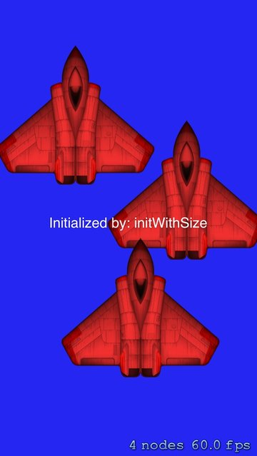 Example of shaders using the initWithSize button