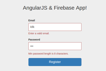 Validation messages showing on registration page