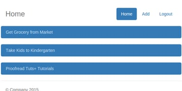 User Home with Tasks Listed