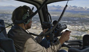 Using a gimbal inside a helicopter