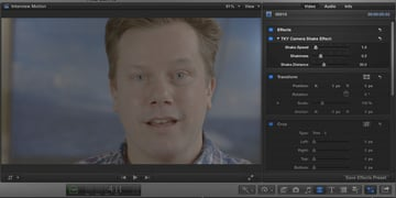 Adding camera shake in post-production