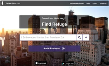 The Refuge Restroom website search or add a restroom
