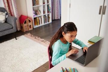girl using a laptop computer