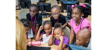 Girls learning how to code with Black Girls CODE