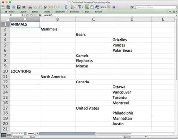 Une hiérarchie d'un vocabulaire mots-clés dans une feuille de calcul Excel