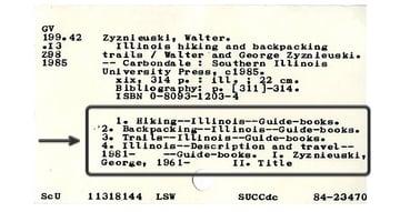 Une carte de catalogue d'une bibliothèque montrant l'utilisation de mots-clés