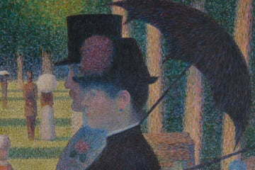 George Seurat A Sunday on La Grande Jatte detail showing dots of paint