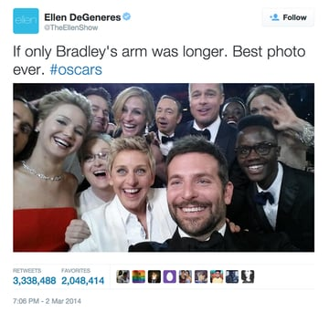 Group of actors photographed at the 2014 Oscars as a selfie