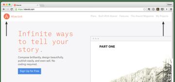 Atavist home page showing Atavist icon and My Projects menu item