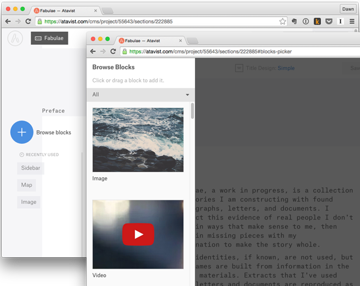 Atavist story page showing Blocks Picker icon and selections