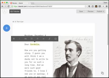 Atavist story page showing text formatting options