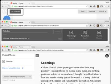 Atavist story page showing design options
