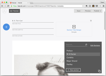 Atavist story page showing options for customizing sections