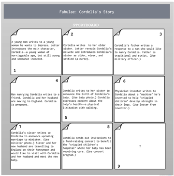 Storyboard with outline for a long form narrative