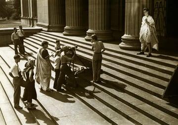 A crew filming Charlton Heston in the movie Julius Caeser