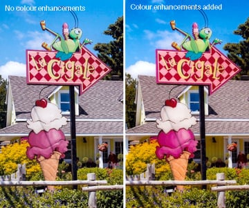Photo of a brightly coloured store sign processed with and without colour enhancements