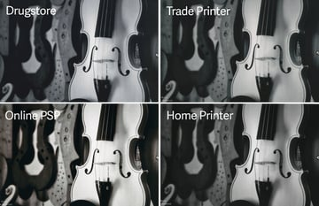 Photo of an unfinished violin printed in black and white by four different printers