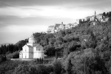 Church on a hillside surrounded by trees