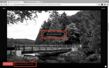Menu for adding captions and click-through links to images