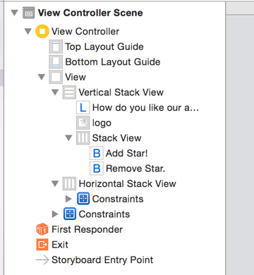 The new stack view contains two buttons