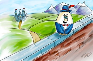 Humpty Dumpty scanned childrens illustration with watercolor effect