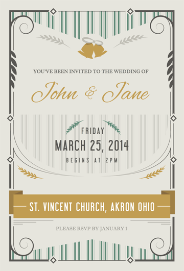 wedding invitation made in Adobe Illustrator