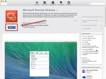 Microsoft Remote Desktop App Store page