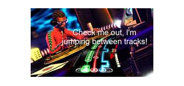DJ jumping between tracks