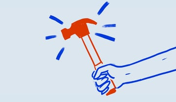Illustration of practical teaching showing a hand holding a hammer