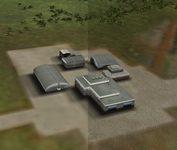 Before and after comparison of airport texture