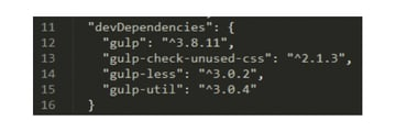 devDependencies section property inside the packagejson file