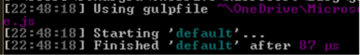 result of running the gulp command line using a command prompt