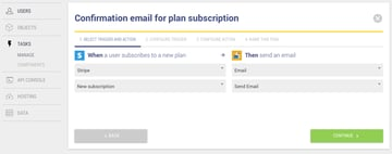 Confirmation email for plan subscription