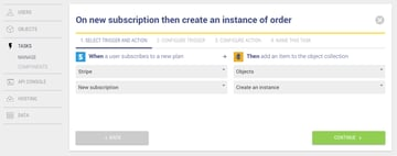 On new subscription then create an instance of order