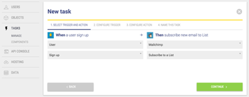 New task window for MailChimp signup