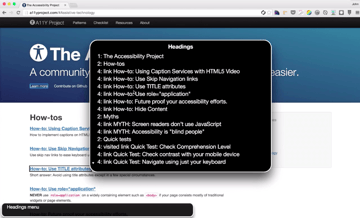 Screenshot of assistive technology in action