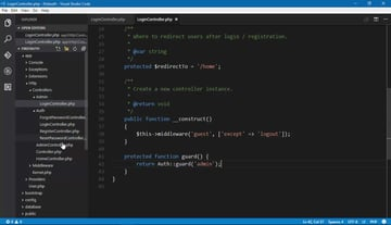 Screenshot of code from Authentication With Laravel course