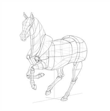 Sketch of animal with perspective lines