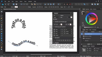 Affinity Designers high-level typography tools