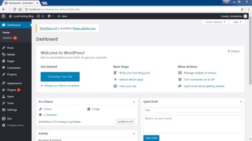 WordPress dashboard showing update available