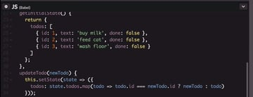 Code for setting the state