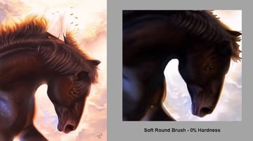 Hard and soft brushes in Photoshop