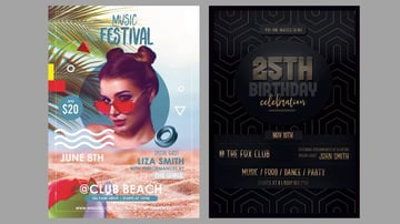 Two flyer designs in Photoshop