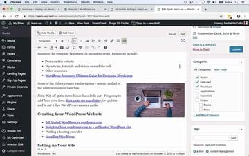 Screenshot of WordPress edit page