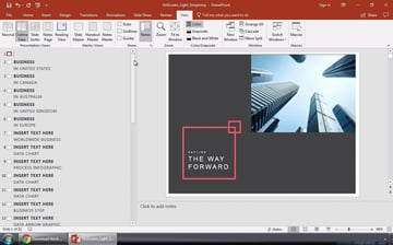 Microsoft PowerPoint outline view