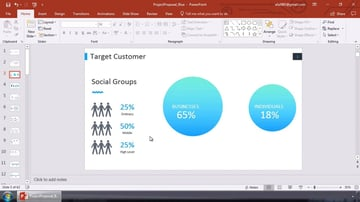 PowerPoint marketing plan being created