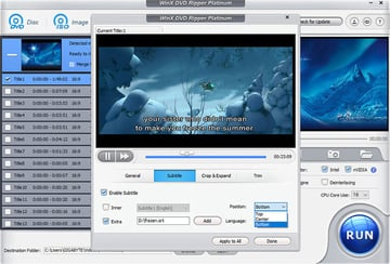 Setting the subtitles in WinX DVD Ripper